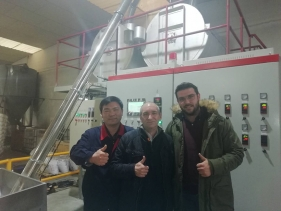Ropenet engineers have installed and run customized PET extrusion line for Spain customer successfully
